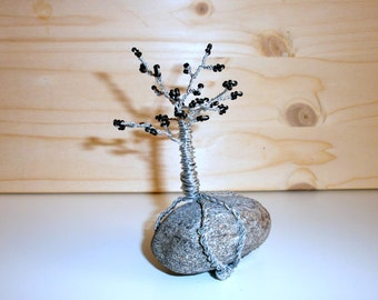 Beaded tree miniature, Wire art tree sculpture, Small silver bonsai tree, Home decor, seed beads, coated wire and natural rock