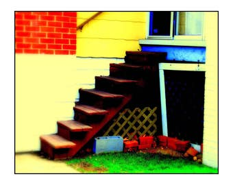 Saturated Stairs, Photograph, Art Print, Wall Art, 8x10