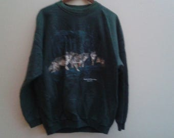 SALE Green Wolf Sweater Reifel Bird Sanctuary Delta BC Vintage L Large