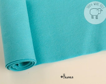 "Wool felt in light blue ""heaven"", pure wool felt 1mm thick, choose the size,  20x30cm , 20cm by 91cm (9"" x 36""),  - Ships from Ireland"