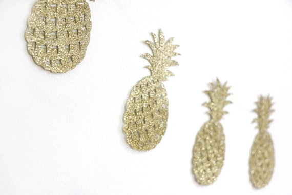Pineapple Garland - Glitter - Bachelorette Party Decor. Dorm Decor. Wedding. Bridal Shower. Pineapple Party. Hawaiian. Tropical.