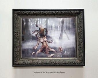 "Octopus monster, swamp scene, fog, artistic nude, fantasy art, concept art, scifi, tentacle woman, steampunk, helmet, ""Mollusk in the Mist"""
