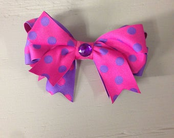 Pink and Purple Polka Dot Hairbow