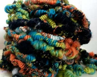 Chameleon Coil - super coiled artyarn with beehives - handspun extra bulky yarn - weave knit crochet supply