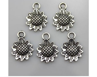 8 Darling Sunflower Charms Well Crafted Silver Tone 17x13mm