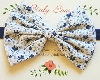Navy Floral Bow Headband, Baby Headbands, Baby Girl Headbands, Baby Girl Headbands, Infant Headbands, Baby Bows