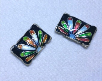 2pc 19x12.5 Rectangle handmade double holes Cloisonne Beads-OFF55