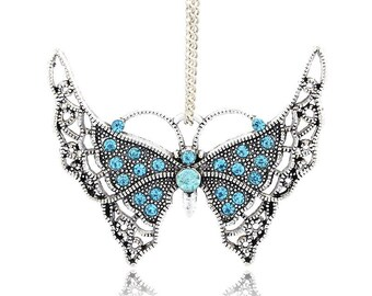 1pc 54X33mm zinc alloy  butterfly pendant with rhinestones -OFF286