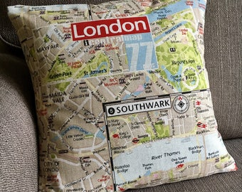 London map fabric cushion cover cotton pillow cover 16 inch