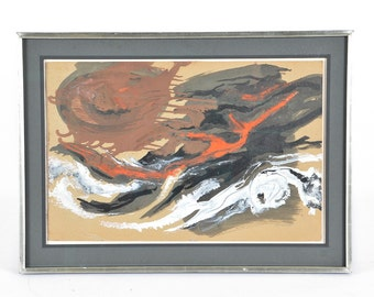 MIdcentury Original Abstract Painting by David W. Scott, in Rich Brown, Red, Black and White Fine Art