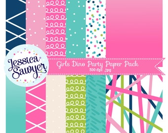 INSTANT DOWNLOAD, Pink and Teal digital papers for planner stickers, products, and crafts