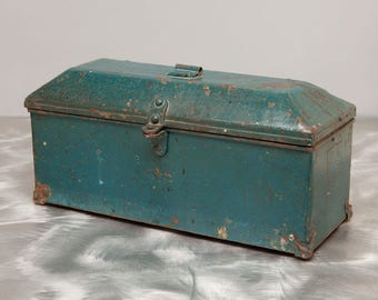 Handmade Metal Box - TREASURE CHEST - Old Teal Blue Cracking Paint Finish - 1940's Industrial Arts Shop Class
