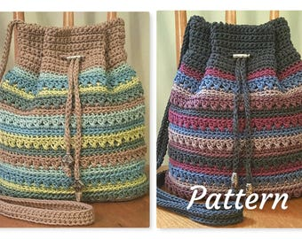 Crochet PATTERN Crisscross Drawstring Bag DIY Crossbody Bag