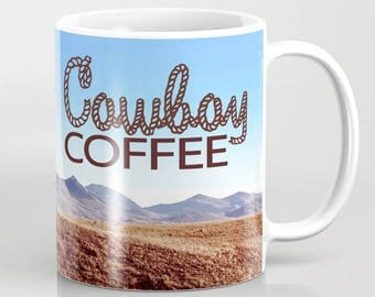 Cowboy Coffee Mug - Couple Riding Horseback Montana Landscape - Ceramic Coffee Mug With Color Photography - Dishwasher Safe