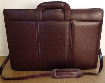 Vintage Oxblood Leather Briefcase / Heritage burgundy red brown cordovan shoulder bag / men's attache case