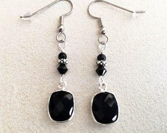 Black Onyx Silver Octagon Bezel Earrings with Swarovski Crystal, Silver Spacer & Black Onyx Bead.
