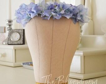 Hydrangea crown / Blue hydrangea / Flower crown / Blue flower crown / Festival crown / Flower girl crown / Flower hairpiece / Wedding crown