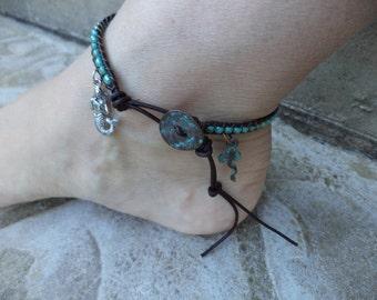 Mermaid Anklet Mermaid Jewelry Stingray Anklet Stingray Jewelry Beach Boho Bohemian Anklet Bohemian Jewelry Leather Anklet Leather Jewelry