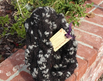 Dark brown and grey blend Cabled Infinity Cowl Scarf