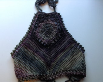 Brown Multicolored Crochet Festival Crop Top