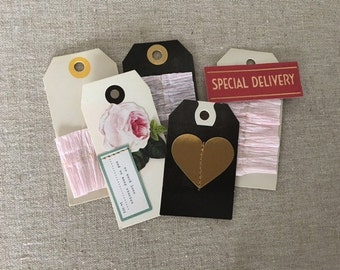 Tag Set Ivory Pink Gold Beige Black Gift Tags for journals or scrapbooks
