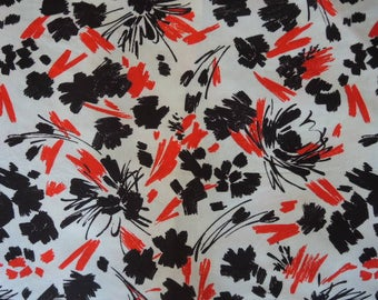 "vintage 1980s T shirt fabric super soft abstract red and black on white 64"" wide 1 yard 28 inches"
