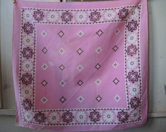 Vintage 1980s bandana made in the USA all cotton fast color bubblegum pink  21 x 22 inches