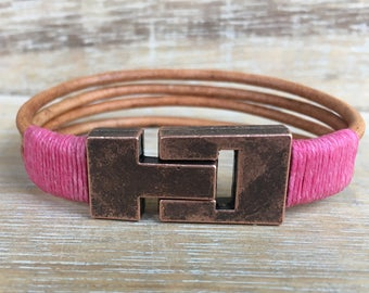 Magnetic Clasp Bracelet, Leather Cuff Bracelet, Pink Bracelet, Boho Wrap Bracelet, Popular Jewelry, Girl Gift, Friend Gift, Sister Gift