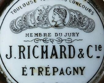Rare 19thC Antique French Porcelain Publicité Advertising Company Plaque-J. Richard et Cie,Étrépagny, Eure,Harmonium Manufacturers c1890's