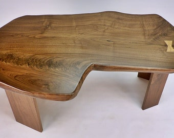 One of a Kind Reclaimed Live Edge Rustic Modern Walnut Slab Coffee Table