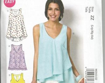 McCalls 6960 new uncut size L to X L womans top/blouse