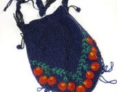 Vintage Art Deco Beaded Bag Red Cherries Repair Repurpose