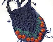 Vintage Art Deco Perlen Beutel rote Kirschen Reparatur wiederverwenden