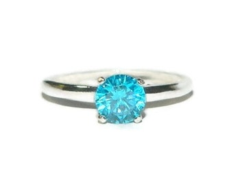 Promise Ring, Blue Diamond Ring, 1 Carat Solitaire Ring, Sterling Silver, High Set Ring