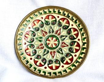 Vintage champlevé bronze plate.
