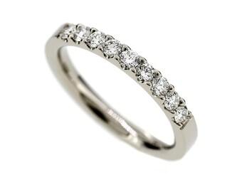 Diamond half eternity wedding band, 950 Platinum ring, engagement ring, vintage, diamond wedding, unique, anniversary, platinum engagement