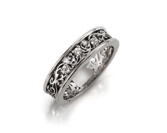Diamond filigree ring made from white gold, unique engagement ring, wedding band, filigree, vintage, diamond engagement ring, unique wedding