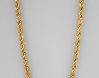 """Vintage Gold Tone Twisted Strand Necklace (5494) 18"""" Long"""