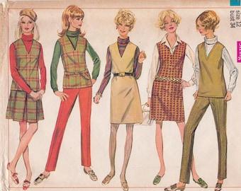 60s Misses' Mod Mini Skirt & Cigarette Pants, Jumper Top Vintage Sewing Pattern [Simplicity 7795] Size 12, Bust 34, Partially Cut