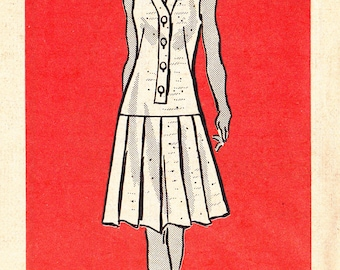 """FF 70s Size 44 Misses' Summer Dress Sleeveless Top Pleated Skirt Plus Size Vintage Sewing Pattern - Anne Adams 4731, Bust 48"""", UNCUT"""