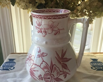 Rare Early Red English Transferware Aesthetic  Movement Jug unmarked English Ironstone 19th Century Exotic Flowers