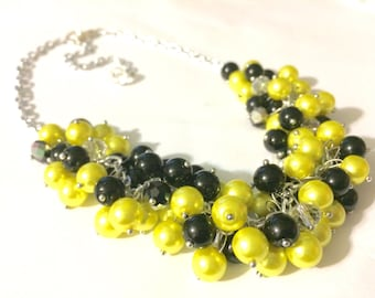 Yellow & Black Necklace, Football Necklace, Pittsburgh jewelry set, Pennsylvania jewelry, yellow black necklace, Pittsburgh necklace
