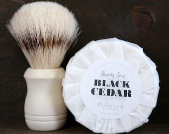 Black Cedar Shaving Soap  - Handmade in Alaska, Goat's Milk Soap, Men's Soap, Gifts for Him, Gifts for Husband, Hipster Gift