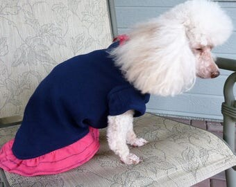 Puppy Dress, Small Dog Dress, Puppy Outfit in a Navy Blue bodice with a Hot Pink frilly ruffle and a cute Hot Pink bow.