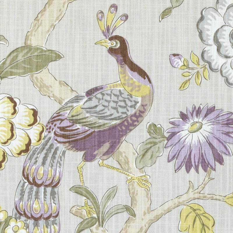 purple green upholstery and curtain fabric with birds