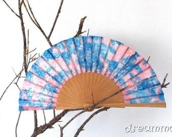 Silk hand fan handpainted pink and blue. gift wedding- bridesmaid. personalized gift. spanish hand fan. birthday gift. summer