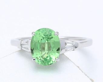 Tsavorite Green Garnet & Diamond 18K Gold Engagement Ring (2.3ct tw) : sku 1470-18K (Watch Video)