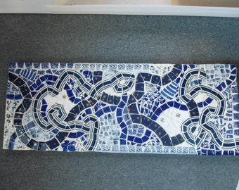"Long Mosaic Table Top or Wall Hanging....32"" X 12""....Piece Made"