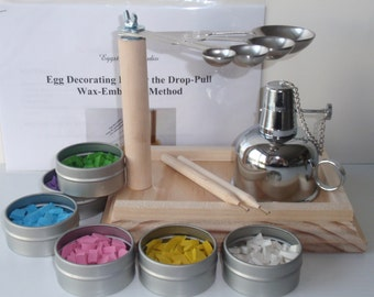 EggstrArt Egg Decorating Kit with Metal Alcohol Burner for Drop Pull Wax-Embossed Method of Egg Decorating