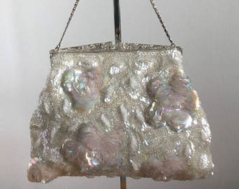 1960s Heavily Sequined Evening Purse, 3D Design of Flowers with Iridescent Sequins and Pearls